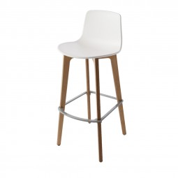 ENEA Lottus Wood - Barhocker mit Sitz aus Polypropylen