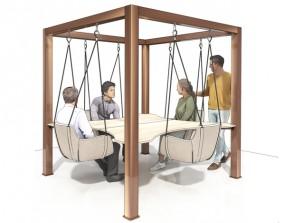 P + R SMEETING | 4-Sitzer Variante / Innovative Meetinglösung - Konferenztisch mit Schaukeln