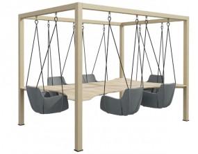 P + R SMEETING | 6-Sitzer Variante / Innovative Meetinglösung - Konferenztisch mit Schaukeln